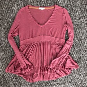 Dusty rose ribbed peplum top
